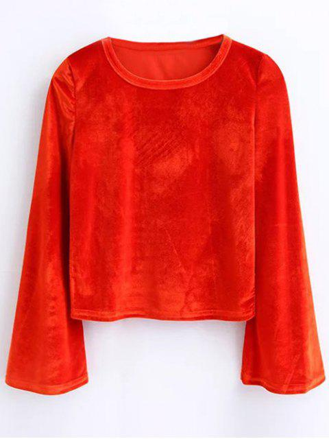 latest Vintage Flared Sleeve Velvet Crop Top - JACINTH M Mobile