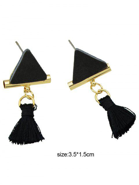 outfit Tassel Triangle Earrings - BLACK  Mobile
