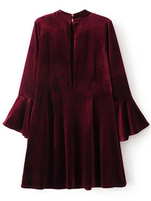 hot Cut Out Bell Sleeve Velvet Dress - BURGUNDY S Mobile