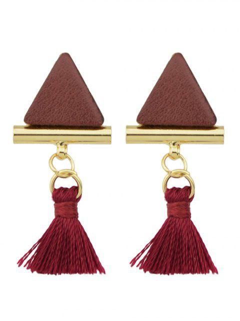 outfits Tassel Triangle Earrings - WINE RED  Mobile