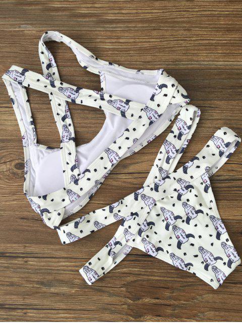 ladies Bandage Cattle Animal Print Bikini Set - WHITE M Mobile