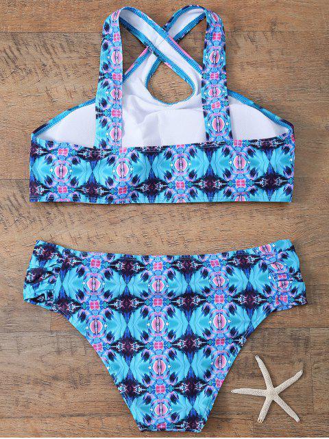 outfits Printed Crossover Bikini Set - BLUE S Mobile