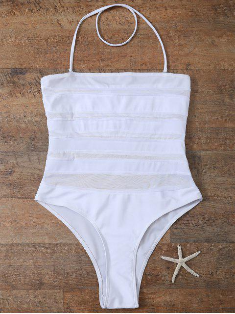 One-Piece Maillots de bain à filets - Blanc S Mobile