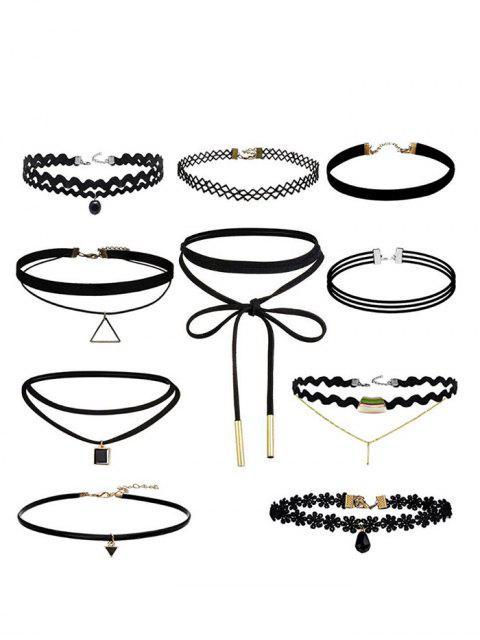 lady Geometric Flower Bar Choker Necklace Set - BLACK  Mobile