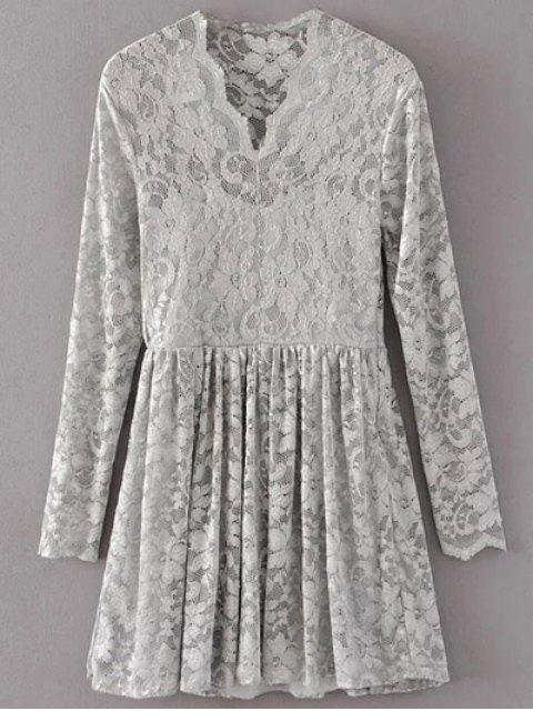 best Lace V Neck Dress - GRAY L Mobile