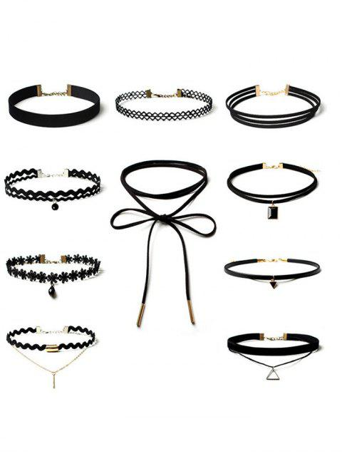 latest Triangle Flower Bar Choker Necklace Set - BLACK  Mobile