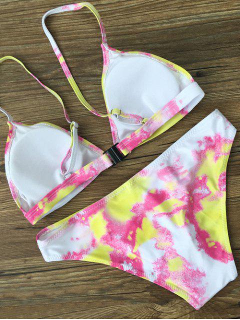 fashion Plunging Neck Tie Dye Bikini Set - YELLOW M Mobile