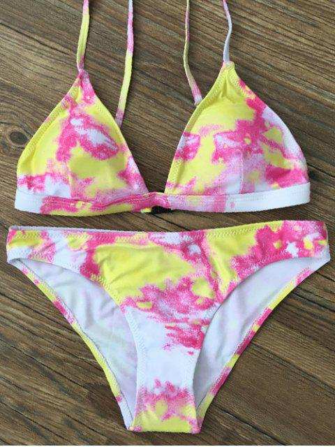 latest Plunging Neck Tie Dye Bikini Set - YELLOW XL Mobile