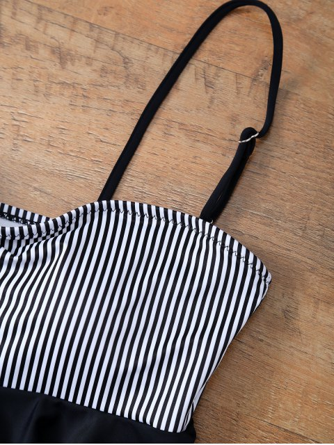 best Flounced Striped Bikini Set - BLACK L Mobile
