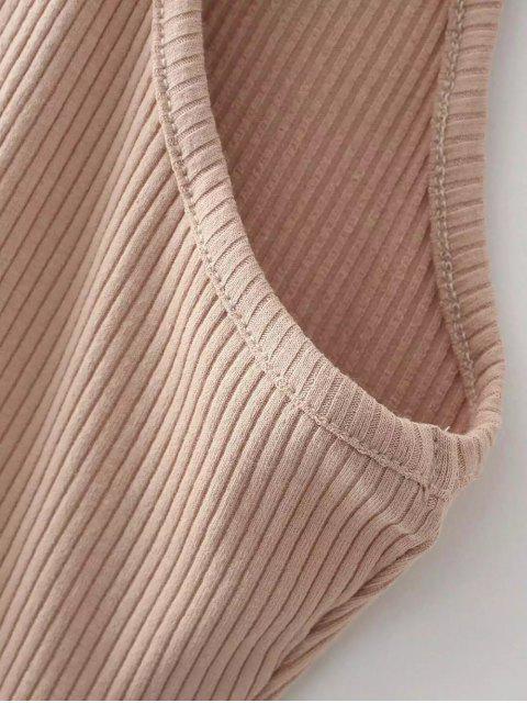 best Slit Sleeveless Bodycon Ribbed Dress - LIGHT CAMEL ONE SIZE Mobile