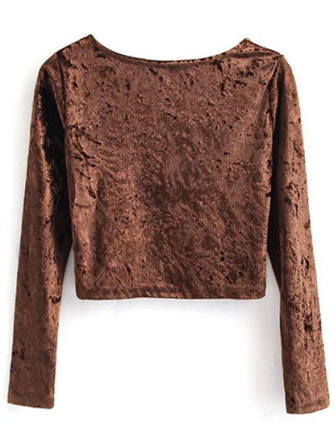 unique Vintage Scoop Neck Velvet Crop Top - COFFEE M Mobile