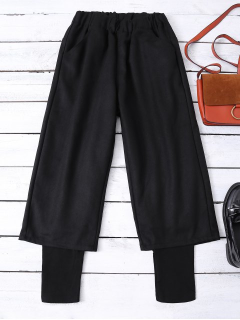 chic Elastic Waist Layered Wide Leg Pants - BLACK L Mobile