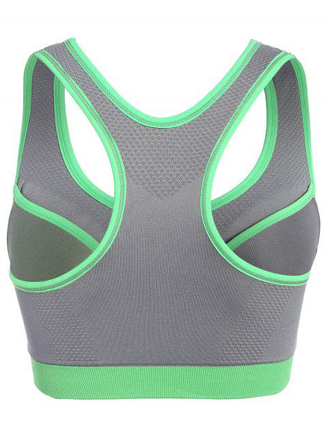 shop Front Zip Mid Impact Sports Bra - GRAY L Mobile