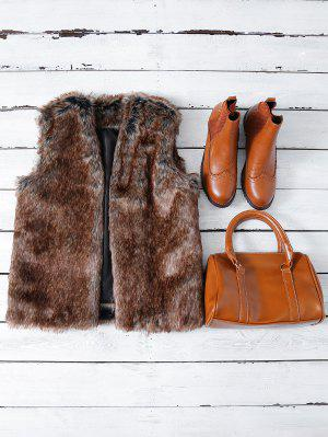 Faux Fur Open Front Waistcoat - Taupe Xl