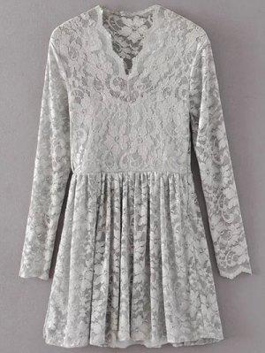 Lace V Neck Dress - Gray L