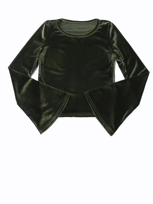 Vintage Flared Sleeve Velvet Crop Top
