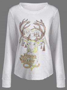Christmas Reindeer Print Sweatshirt - Off-white S