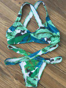 Ensemble De Bikini Imprimé De Feuille Avec Bandes Croisées  - Vert M