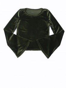 Vintage Flared Sleeve Velvet Crop Top - Deep Green S