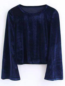 Vintage Flared Sleeve Velvet Crop Top - Cadetblue S