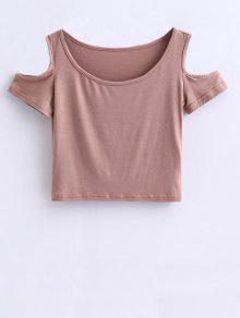 T-shirt Court à épaules Dénudées - Pale Rose Gris M
