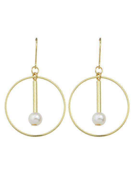 latest Faux Pearl Circle Drop Earrings - GOLDEN