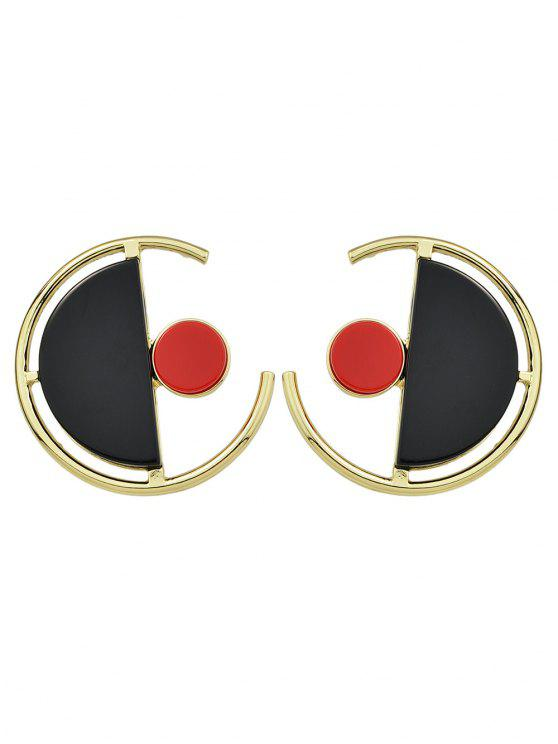 chic Geometric Vintage Round Earrings - GOLDEN