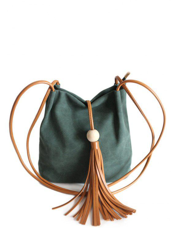 unique Tassel Wood Bead Shoulder Bag - GREEN