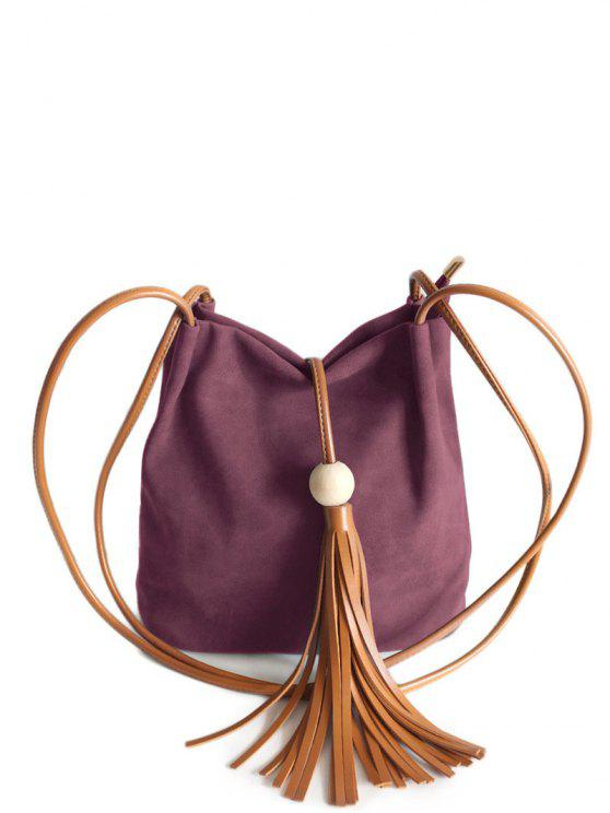 sale Tassel Wood Bead Shoulder Bag - PURPLISH RED