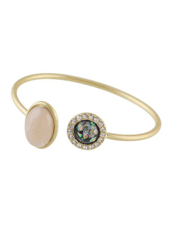 sale Artificial Gem Vintage Rhinestone Cuff Bracelet - GOLDEN