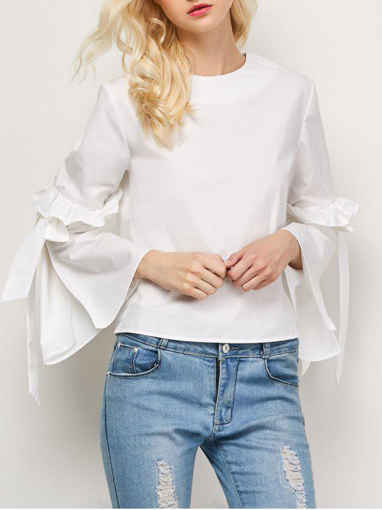 hot Oversized Flare Sleeve Flounced Blouse - WHITE L
