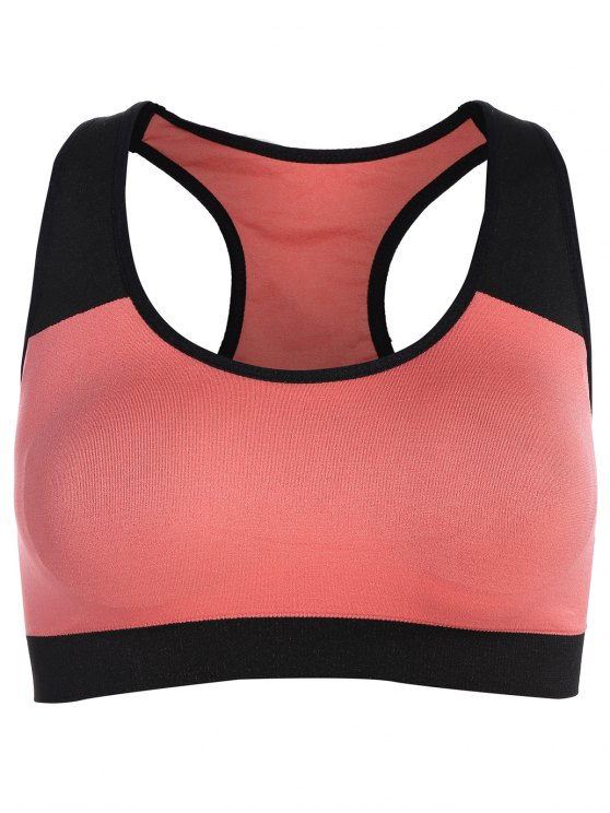 shop Seamless Cotton Pullover Sports Bra - BLACK AND PINK XL