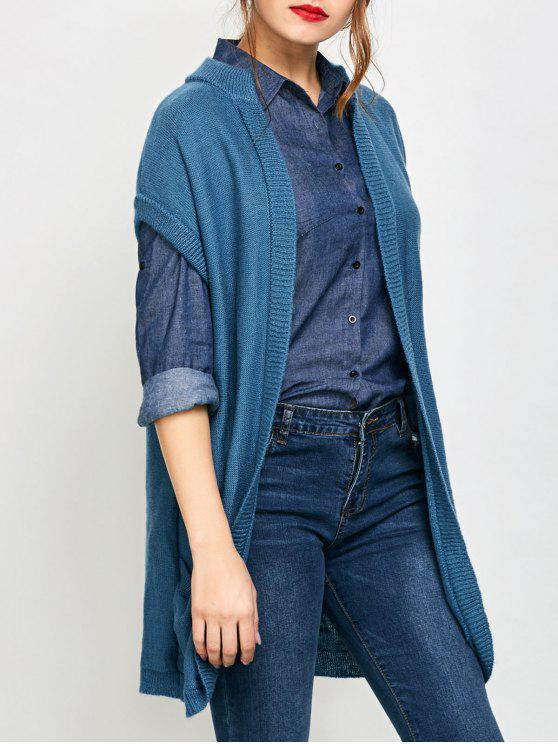 affordable Short Sleeve Knitted Cardigan with Pockets - BLUE S