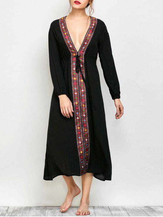 buy Low Cut Belted Printed Vintage Dress - BLACK XL