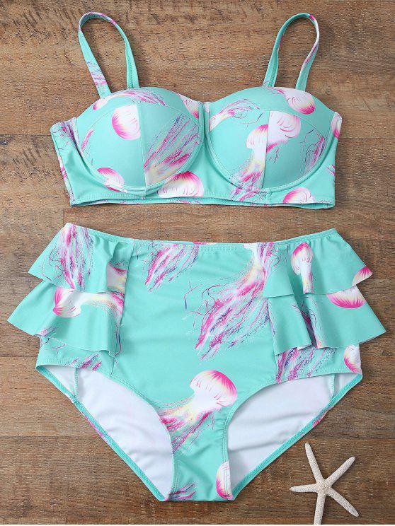 fancy Push Up Printed Flounced Bikini Set - LIGHT BLUE L