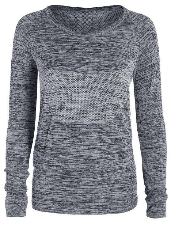 T-shirt gris de sport en crochet aux manches longues pour les femmes - Gris L