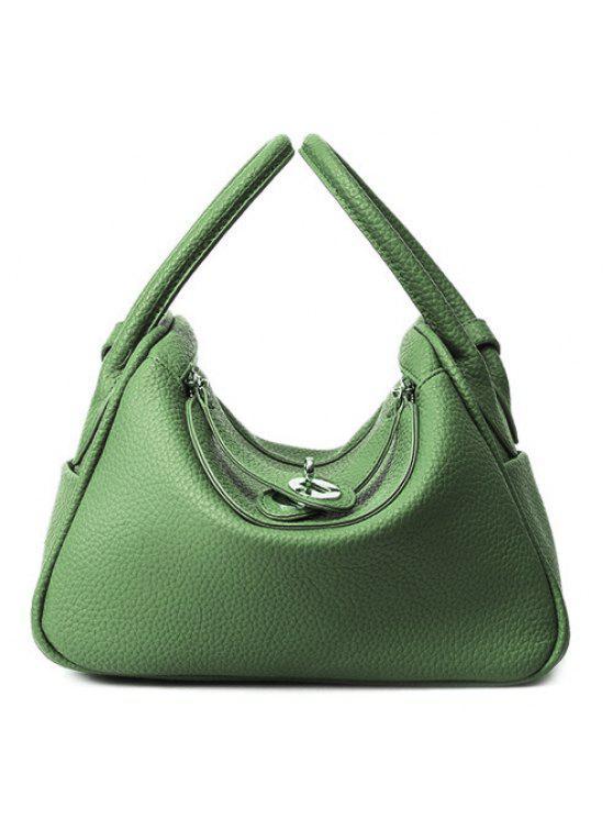 محكم جلد تويست قفل حمل حقيبة - أخضر