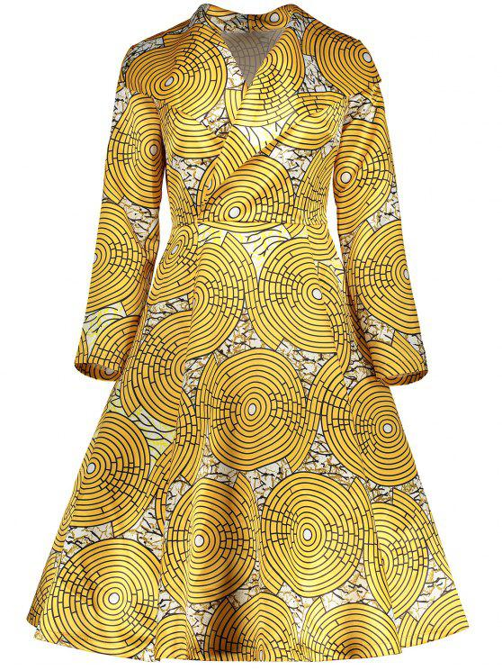 fancy Vintage Printed Surplice Flare Dress - YELLOW XL