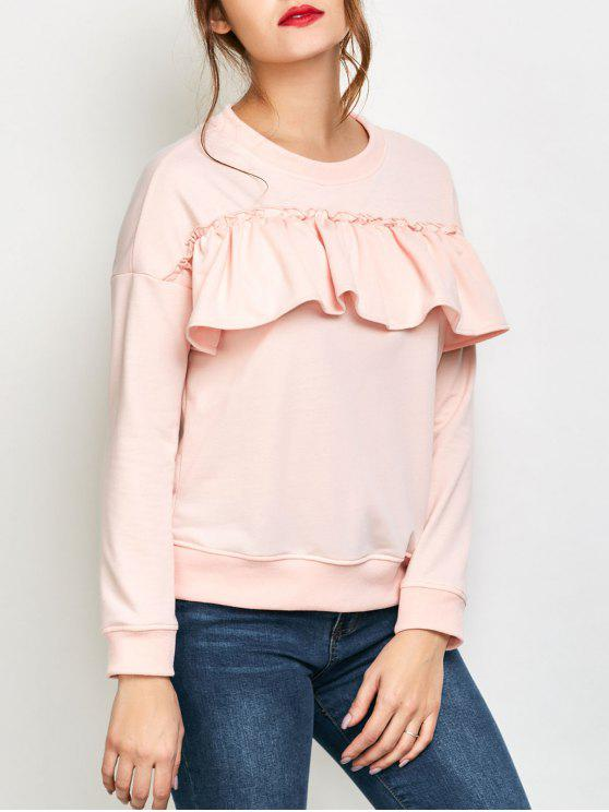 women Ruffles Jewel Neck Sweatshirt - PINK XL