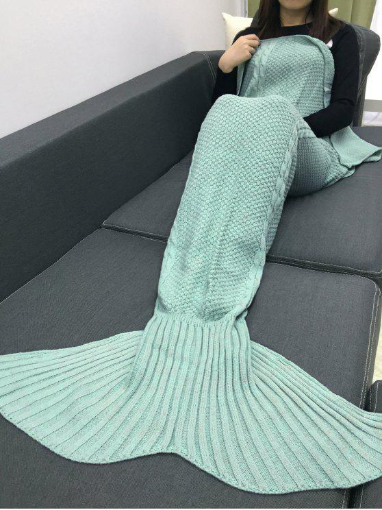 Couverture Style Queue de Sirène Tricotée au Crochet Garde au Chaud - Vert Menthe