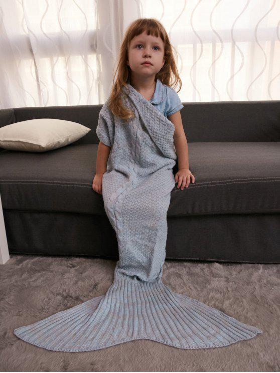 fancy Keep Warm Crochet Knitting Mermaid Tail Style Blanket For Kids - GRAY