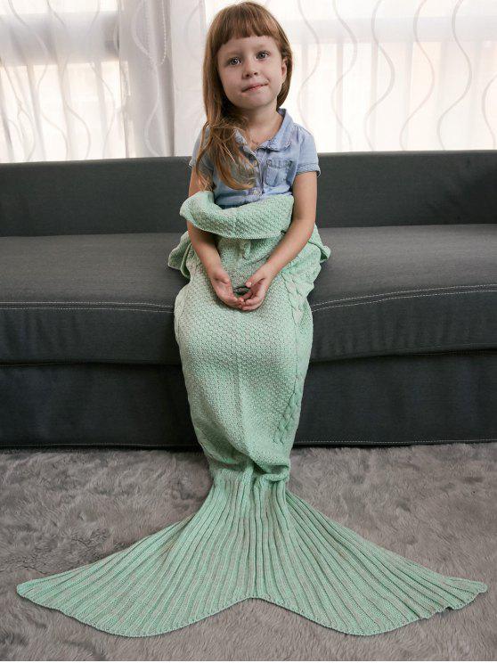 Mantenha morno Crochet Knitting estilo sereia Cauda Blanket - Menta Verde