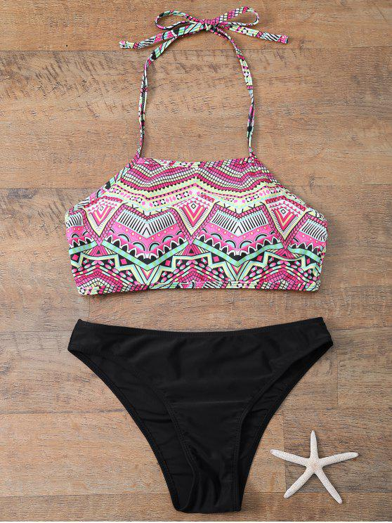 chic Halter Bikini Set With Diamond Print - BLACK M