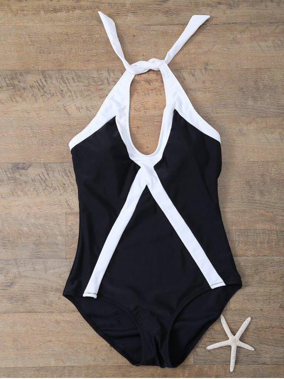 shop Color Block Sports One-Piece Swimwear - WHITE AND BLACK XL