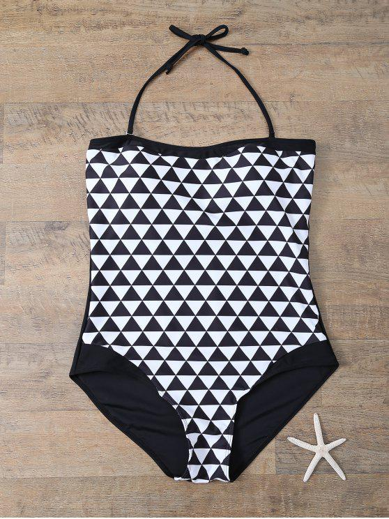 women Plus Size Diamond Print One-Piece Swimwear - WHITE AND BLACK L