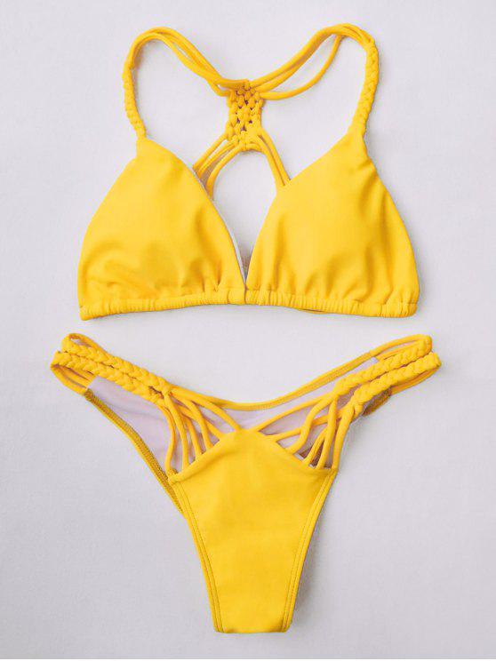 ladies Macrame String Thong Bikini - YELLOW M