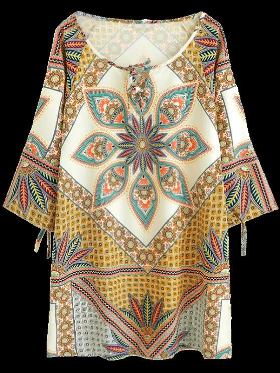 Mini Robe tunique imprimée à manches raglan - Brun S