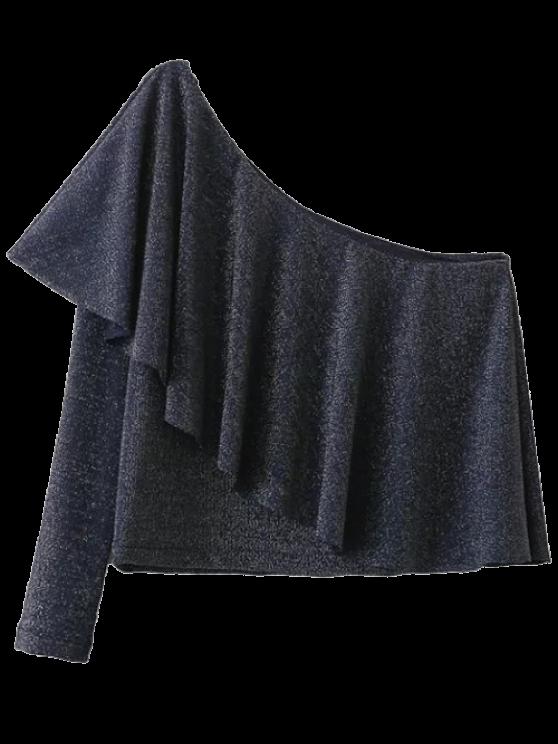 Un hombro ocasional de la camiseta Volantes - Gris Oscuro L