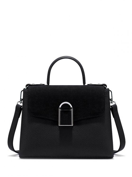 best Suede Panel Flapped Handbag - BLACK