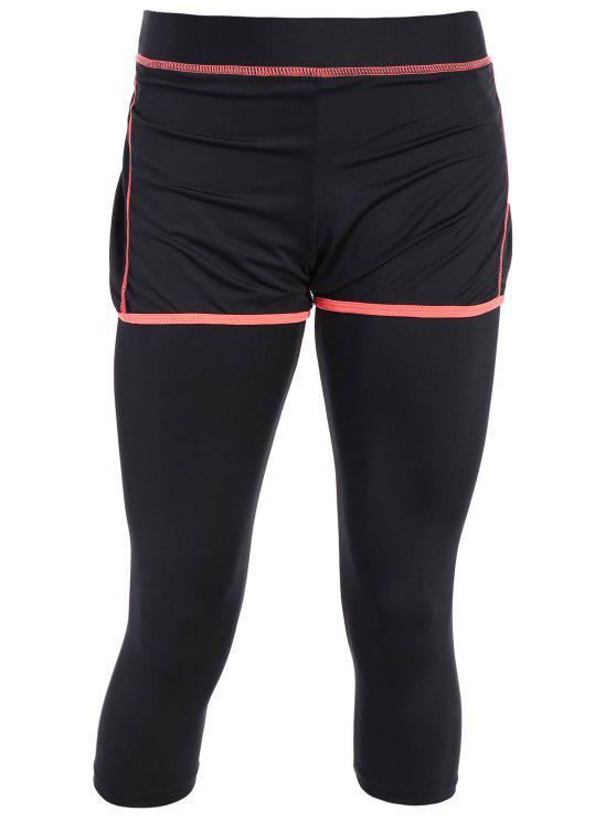 affordable Tight Fit Capri Leggings With Shorts - BLACK AND ORANGE S